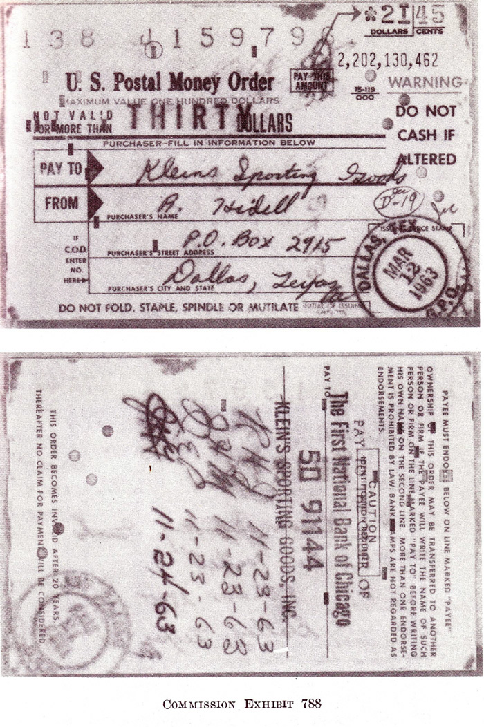 Rectangular and round punch codes on the Hidell money order